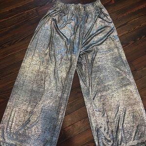 Silver Lame' Wide Leg Lizard Print Pants Vintage!